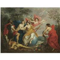 an allegory of good government - minerva protecting ceres from war by guillaume forchondt the elder