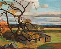 farm in autumn by frank charles hennessey