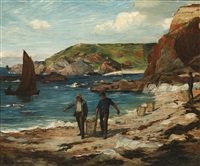 a scottish cove, with fishermen on the beach by james alfred aitken