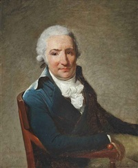 portrait of a gentleman in a blue coat and white cravat, seated in an interior by henri-pierre danloux