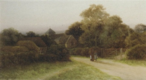 evensong near corfe castle dorset by george oyston