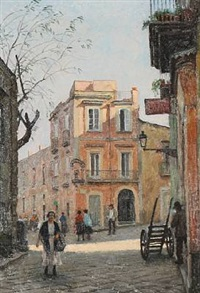 strada del belvedere. napoli by paul gustave fischer
