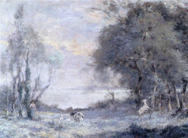 la gardienne de chèvres au bord de la mer by adrien gabriel voisard margerie