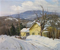 hauling wood in the snow by frank gervasi
