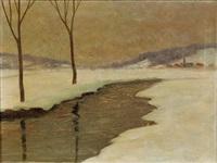 dorf in winterlandschaft by philipp metzger