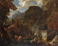 baigneurs dans des ruines antiques près d'un sarcophage by johannes gottlieb glauber