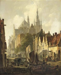 a view of delft with the oude kerk in the distance by johannes bosboom