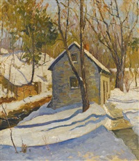 house by a stream, winter by george gardner symons