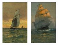 fishing boats at full sail by james macdonald barnsley