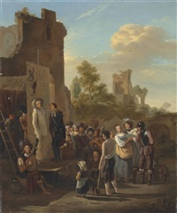 figures by a ruined building watching a performance of the comedia dell'arte in an italianate landscape by dutch school (18)