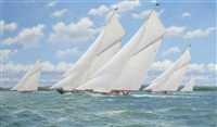 white heather (ii) leading the pack in the solent with lulworth and britannia to leeward and shamrock (v) and candida astern by stephen j. renard