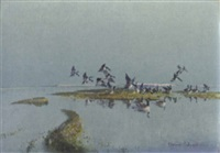 canada geese arriving at high tide by vernon ward