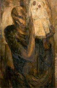figure d'homme tenant une vierge à l'enfant by luc lafnet