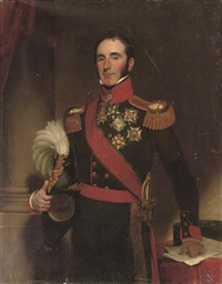 portrait of sir john conroy, 1st bt. standing in the uniform of the royal artillery, holding a plumed helmet in his right hand by henry william pickersgill