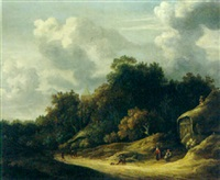 a wooded landscape with peasants on a sandy track, a village church beyond by gillis rombouts