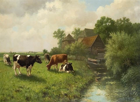 cows on a farm by louis soonius
