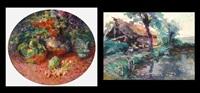 nature morte et fleurs (+ fermette au bord de l'eau, painting on canvas, smllr; 2 works) by hubert van den bossche