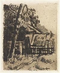 entrée de ferme, rue remy, à auvers (+ portrait de peintre a) by paul cézanne