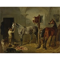 preparing for the hunt, a dapple grey and a bay hunter in a stable by james loder