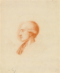 männliche portraitstudie im profil by johann heinrich lips