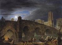 blick auf eine steinerne bogenbrücke und die klassizistischen bauten einer stadt bei mondschein, im vordergrund boote mit figuren und treidelpferden by vinzenz fischer