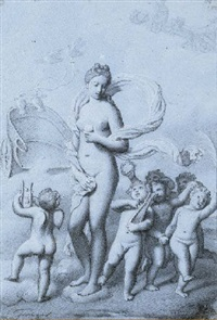 putti dancing around a partly draped female nude, a chariot drawn by two doves in the background by jean-pierre granger