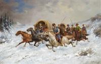kosakenzug im schnee by aleksandr zacharov