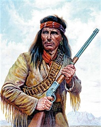 portrait of native american indian with rifle by gregory perillo