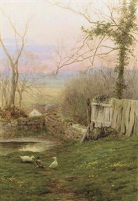 evening's final hour and a mill pond by george marks