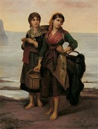 zwei junge fischerinnen am strand by philip lodewijk jacob frederik sadée