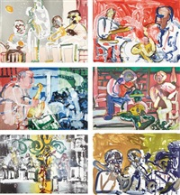jazz (set of 6) by romare bearden