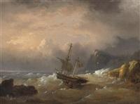 a sailing vessel off a rocky coast by egidius linnig
