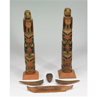 totem poles, simpson b.c. (pair, + 4 others; 6 works) by frederick alexcee
