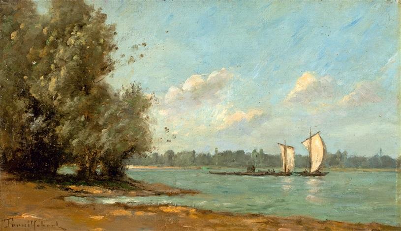 bateaux à voile sur la rivière by paul désiré trouillebert