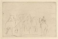 l'abreuvoir (chevaux au bain) by pablo picasso