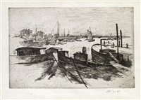 harbor with barges (from john henry twachtman) by john henry twachtman