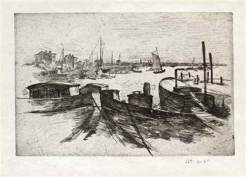 harbor with barges from john henry twachtman by john henry twachtman