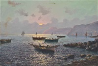 fishing vessels off the bay of naples by vincenzo d' auria