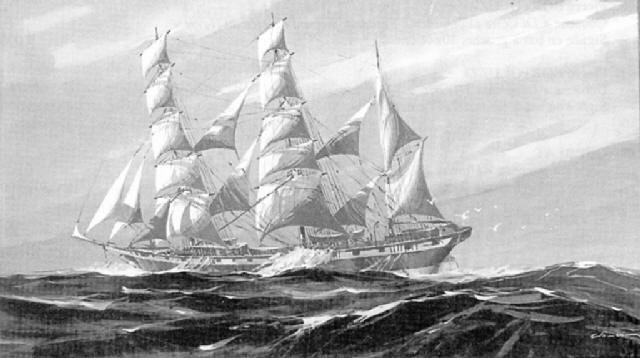 trois mâts barque vue par le travers by georges fouille