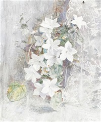 a still life of flowers and lace by robert sargent austin