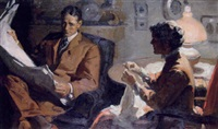couple in interior, he with newspaper, she knitting by frank s. bensing