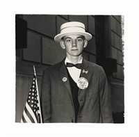boy with a straw hat waiting to march in a pro-war parade, n.y.c by diane arbus
