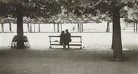 couple on a park bench, paris by robert frank