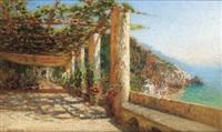 blick aus einer pergola auf amalfi by otto geleng