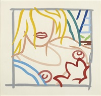 bedroom blonde with necklace by tom wesselmann