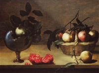 nature morte au nautile et au panier de fruits by johannes bouman