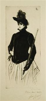 la femme au parapluie by louis legrand