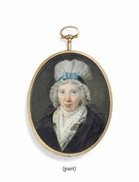 a lady, in black lace-trimmed gown, woollen scarf and small lace ruff, gold earrings and white mob-cap with blue ribbon by samuel cotes