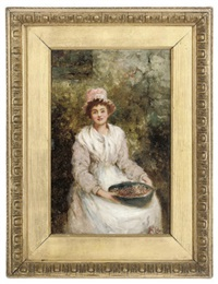 a lady seated in a garden with a bowl of berries (+ a gentleman taking snuff; pair) by j.m. colvin