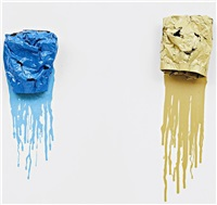 sandhead (blue) (+ sandhead (sand); 2 works) by jim lambie